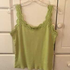 Lime green cotton lace trimmed tank top size L